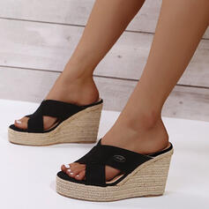 Women's PU Wedge Heel Sandals Platform Wedges Peep Toe Slippers Heels With Hollow-out shoes