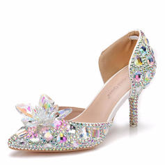 Women's Leatherette Spool Heel Closed Toe Pumps Sandals With Crystal