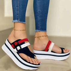 Women's PU Wedge Heel Sandals Platform Wedges Peep Toe Slippers Toe Ring Heels With Buckle Hollow-out Splice Color shoes