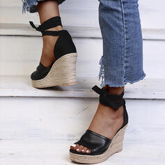 Women's Leatherette Wedge Heel Sandals Platform Wedges Peep Toe Heels With Lace-up Hollow-out shoes