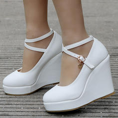 Women's Leatherette Wedge Heel Closed Toe Platform Pumps Wedges With Buckle
