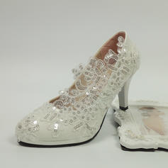Patent Leather Spool Heel Closed Toe Pumps With Stitching Lace
