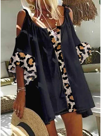 Leopard 1/2 Sleeves Cold Shoulder Sleeve Shift Above Knee Casual Tunic Dresses