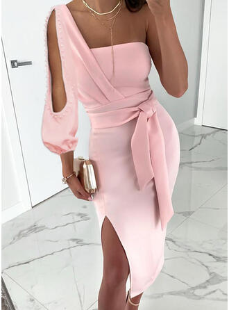 Solid Long Sleeves/Cold Shoulder Sleeve Sheath Sexy/Party Midi Dresses