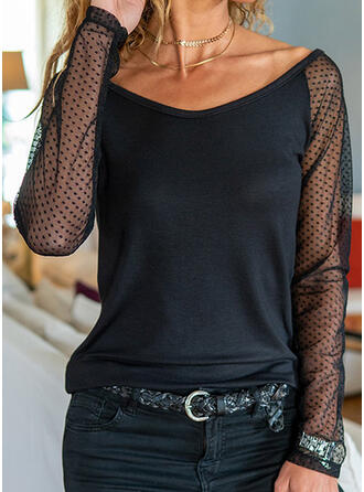 Solid PolkaDot V-Neck Long Sleeves Casual Blouses