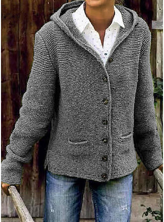 Polyester Manches longues Solid Poches Gros tricot
