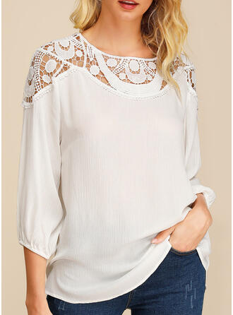 Solid Lace Round Neck 3/4 Sleeves Casual Sexy Blouses