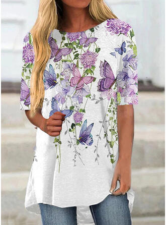 Print Butterfly Round Neck Short Sleeves T-shirts