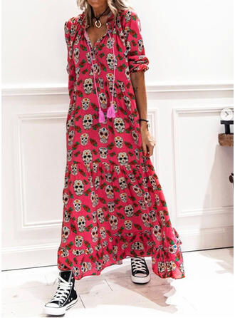 Print 1/2 Sleeves Shift Casual Maxi Dresses