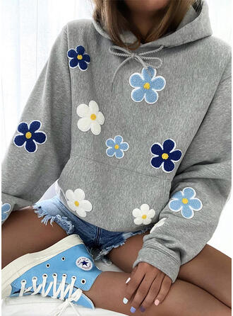 Broderie Floral Manches longues Capuche