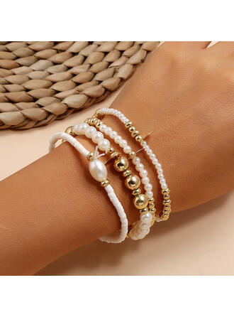En couches Alliage De faux pearl Bracelets (Lot de 4)