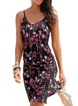 Print/Floral Sleeveless A-line Above Knee Casual Dresses