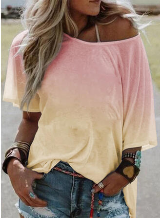 Tie Dye One-Shoulder 1/2 Sleeves Casual T-shirts