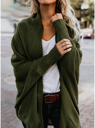 Polyester Manches longues Solid Gros tricot Tricot Waffle Cardigans