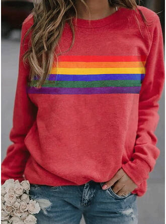 Striped Col rond Manches longues Sweat-shirts