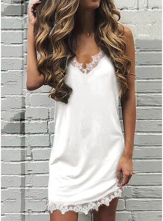 Lace/Solid Sleeveless Shift Above Knee Sexy Dresses