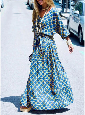 Print 3/4 Sleeves A-line Casual/Vacation Maxi Dresses