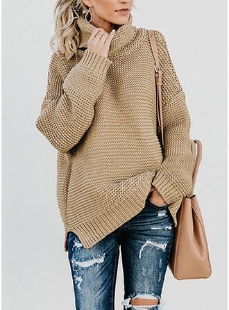 Solid Ribbed Chunky knit Turtleneck Casual Sweaters