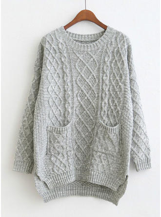 Solid Cable-knit Pocket Round Neck Casual Loose Sweaters