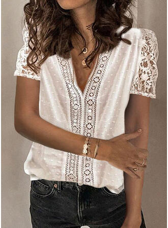 Solid Lace V-Neck Puff Sleeves Short Sleeves Elegant Blouses