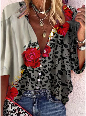 Print Floral Leopard V-Neck 3/4 Sleeves Button Up Casual Blouses
