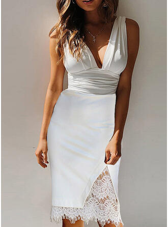 Lace/Solid Sleeveless Bodycon Knee Length Sexy/Casual/Party Dresses