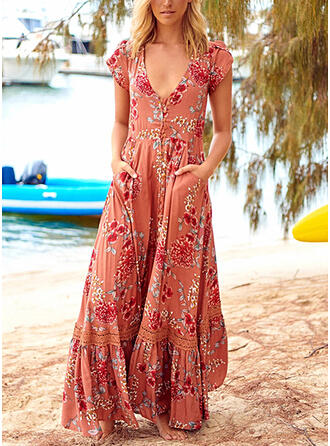 Lace/Print/Floral Short Sleeves A-line Skater Boho/Vacation Maxi Dresses