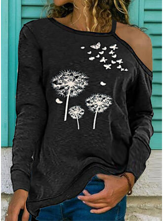 Dandelion Print Butterfly One Shoulder Long Sleeves T-shirts