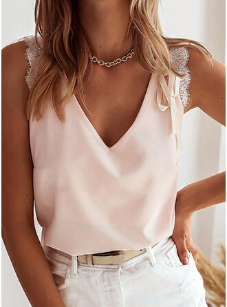 Solid Lace V-Neck Sleeveless Casual Sexy Tank Tops