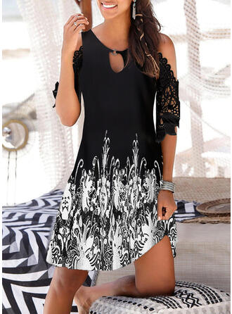 Lace/Print 1/2 Sleeves/Cold Shoulder Sleeve Shift Above Knee Casual/Vacation Dresses