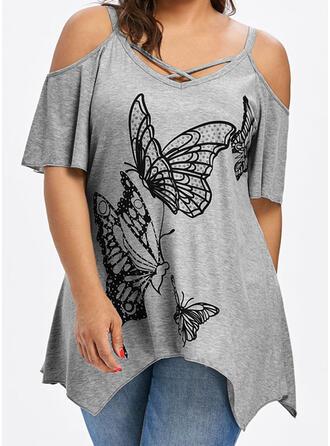 Animal Print Cold Shoulder Short Sleeves Casual Plus Size Blouses