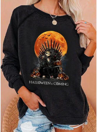 Halloween Motif Animal Col Rond Manches Longues Sweat-shirts