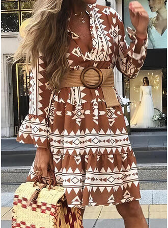 Print Long Sleeves/Flare Sleeves A-line Knee Length Casual Dresses